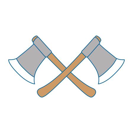 houthakkers bijlen geïsoleerd pictogram vector illustratie ontwerp