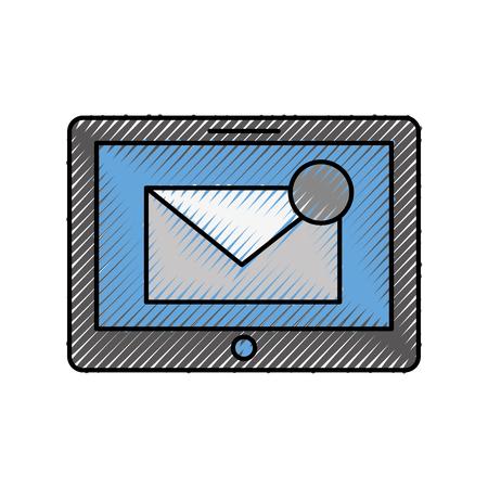 メールボックスメッセージまたは電子メール通知ベクトルイラスト付きのタブレット