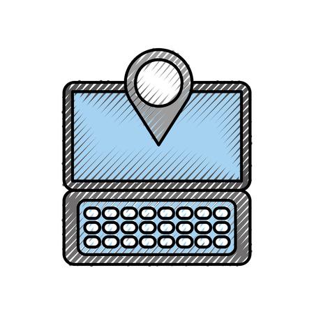 ノート パソコン通信ポインター マップ ナビゲーション gps 場所アプリ ベクトル図  イラスト・ベクター素材