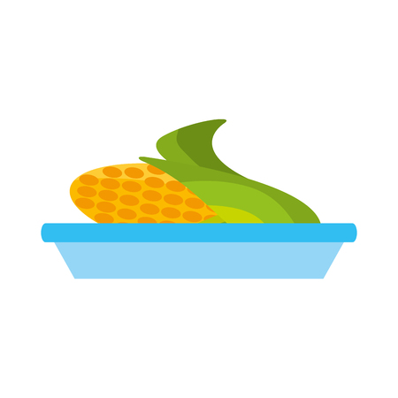 sweet corn on dish cartoon thanksgiving day symbol vector illustration