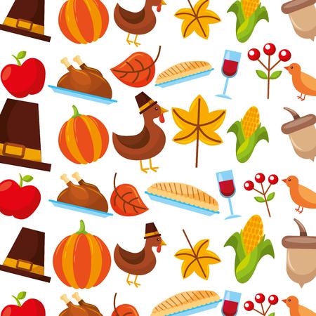 感謝祭のお祝い休日お祝いのシームレスなパターン ベクトル図
