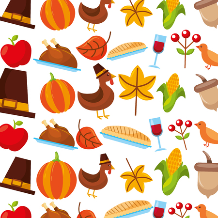 thanksgiving celebration holiday festive seamless pattern vector illustration Illusztráció