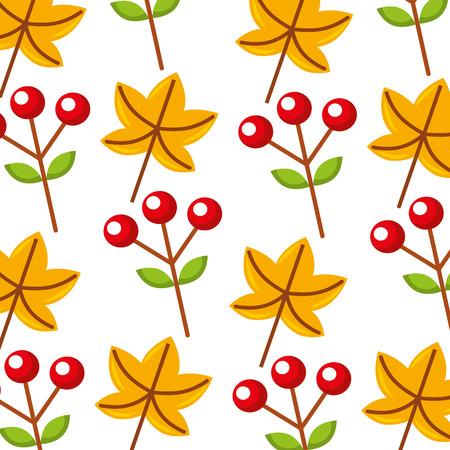 autumn leaf maple berries fruit foliage flora decoration vector illustration