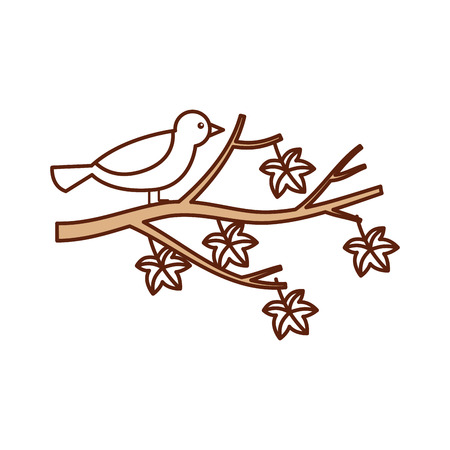 autumn beautiful bird in branch and leaves vector illustration Illustration