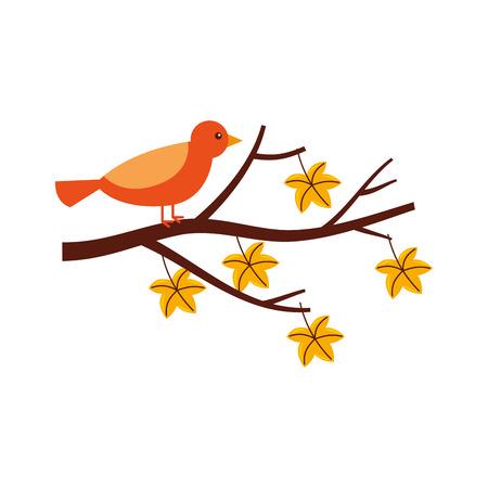Outono lindo pássaro no galho e folhas ilustração vetorial