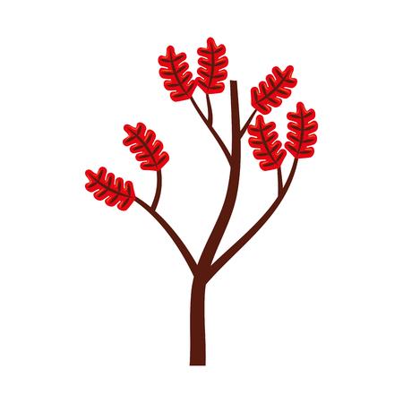 가을 분기 나무와 나뭇잎 계절 벡터 일러스트
