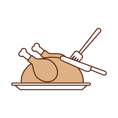 turkey fork and knife dinner food for thanksgiving day vector illustration Ilustração
