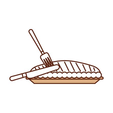 pumpkin pie with fork knife food thanksgiving day menu vector illustration Illustration