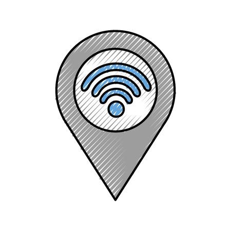 wifi インターネット信号接続ベクトル図とポインタ ・ マップ