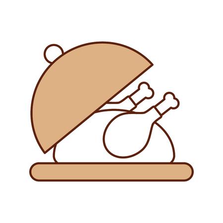 Dinde rôtie sur un plateau pour illustration vectorielle de thanksgiving Banque d'images - 88456283