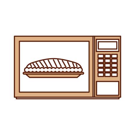 感謝祭のディナーのためのマイクロ波ケーキカボチャベクターイラスト