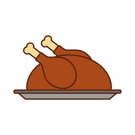 turkey dinner cartoon traditional food for thanksgiving day vector illustration