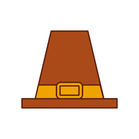 pilgrim hat classic accessory thanksgiving symbol vector illustration Ilustração