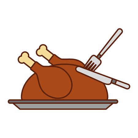turkey fork and knife dinner food for thanksgiving day vector illustration Ilustrace