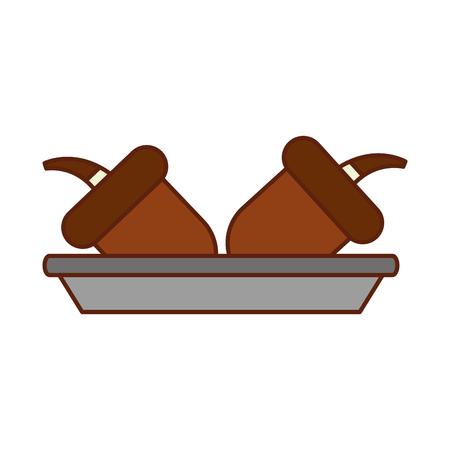 autumn acorn in dish nature food nuts vector illustration