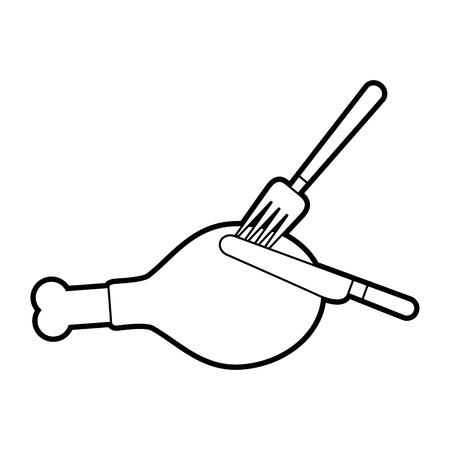 chicken or turkey thigh with fork knife food thanksgiving vector illustration Ilustração