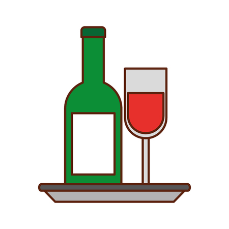 wine bottle and glass with plate celebration vector illustration Stok Fotoğraf - 88456400