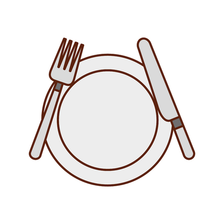 kitchenware dish knife and fork cooking vector illustration Stok Fotoğraf - 88456418