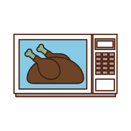 電子レンジ感謝祭食品ベクトル図でおいしいチキン