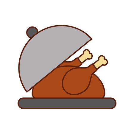 Dinde rôtie sur un plateau pour illustration vectorielle de thanksgiving Banque d'images - 88456422