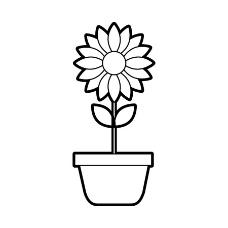 potted flower nature decoration interior plant vector illustration Ilustrace