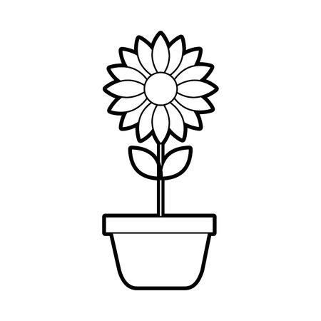 potted flower nature decoration interior plant vector illustration Ilustracja