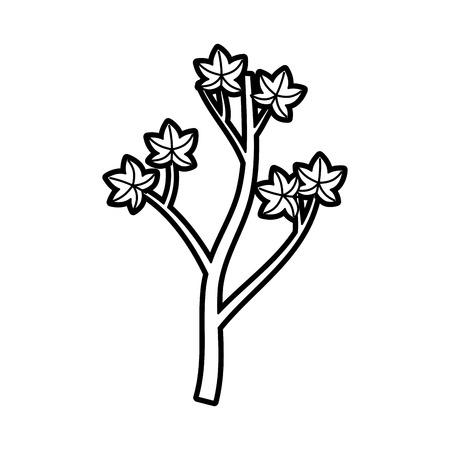 winter garden: cartoon tree berries on branch natural vector illustration