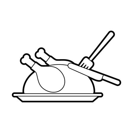 感謝祭の日のベクトル図トルコ食品ディナー フォークとナイフ  イラスト・ベクター素材