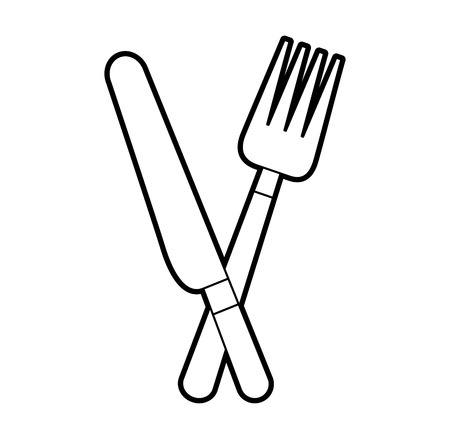 fork and knife cutlery kitchen eating vector illustration
