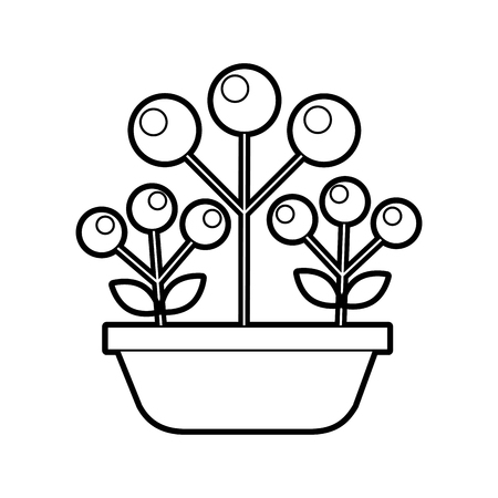 potted branch autumn berries plant nature vector illustration