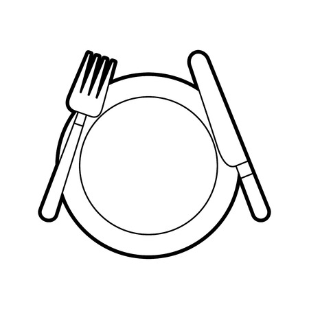 kitchenware dish knife and fork cooking vector illustration