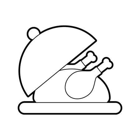 Dinde rôtie sur le plateau pour thanksgiving illustration vectorielle Banque d'images - 88456467