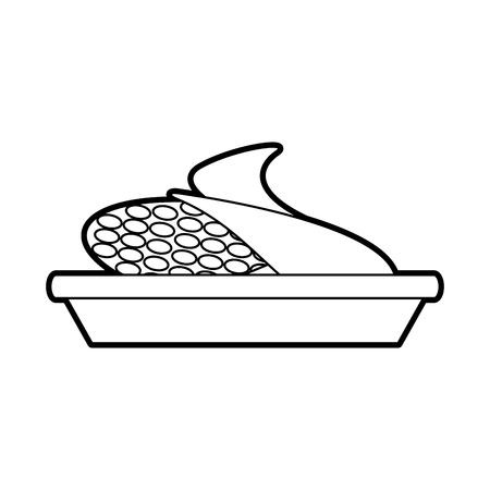 sweet corn on dish cartoon thanksgiving day symbol vector illustration
