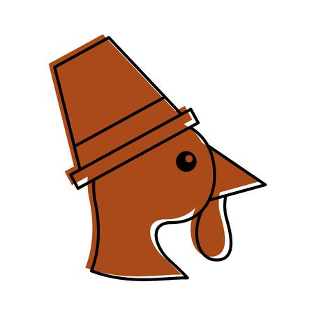 cartoon thanksgiving turkey bird wearing a pilgrims hat vector illustration Illusztráció