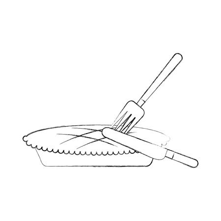 pumpkin pie with fork knife food thanksgiving day menu vector illustration 向量圖像