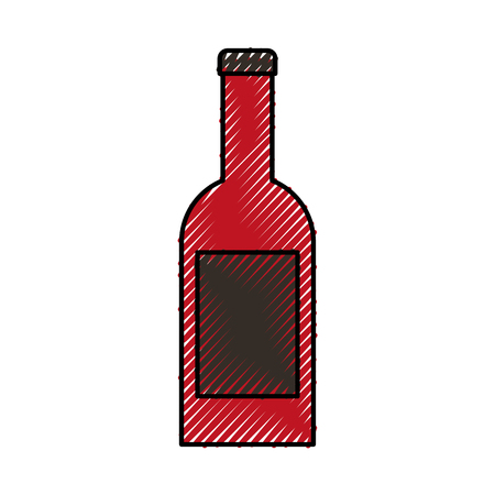wine bottle drink beverage celebration vector illustration Иллюстрация