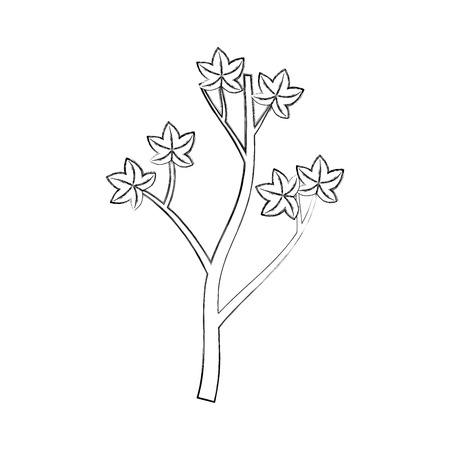 木の秋の枝と葉季節ベクトルイラスト