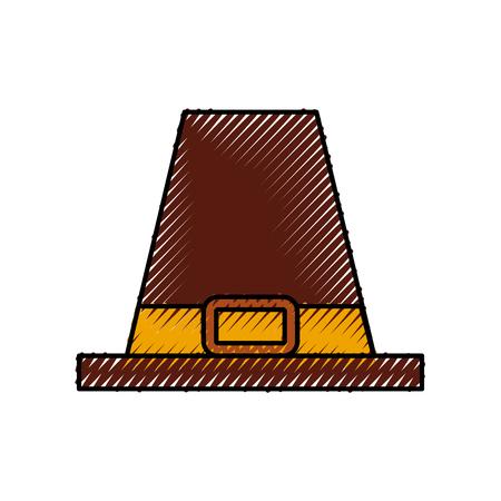 순례자 모자 고전 액세서리 추수 감사절 기호 벡터 일러스트 레이션