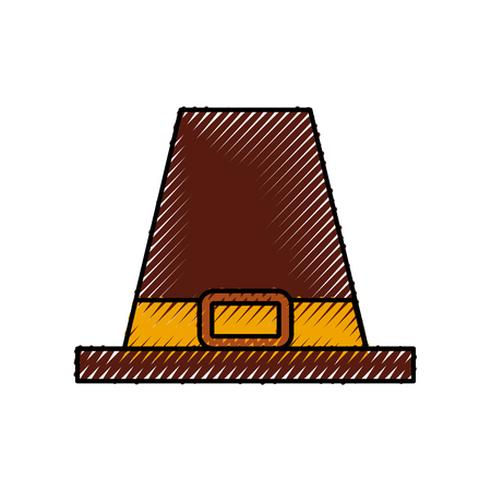 pilgrim hat classic accessory thanksgiving symbol vector illustration Çizim