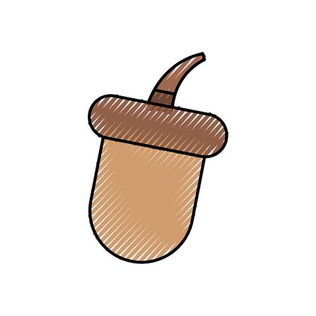 autumn season acorn food forest vector illustration Çizim