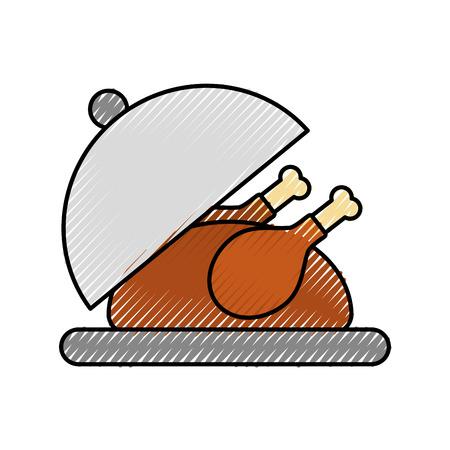 roasted turkey on tray for thanksgiving vector illustration