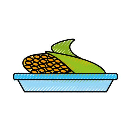甘いトウモロコシの皿漫画感謝祭のシンボルベクトルイラスト