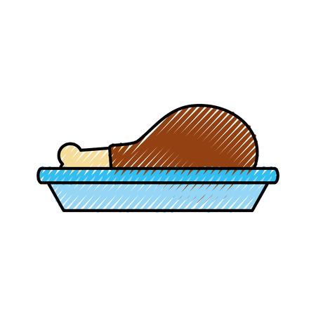 치킨이나 터키 허벅지 음식 메뉴 추수 감사절 벡터 일러스트 레이션 일러스트