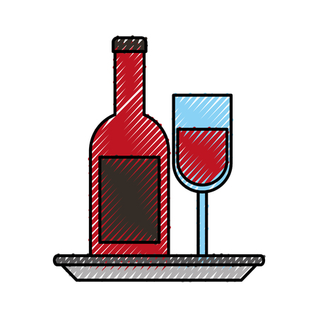 wine bottle and glass with plate celebration vector illustration