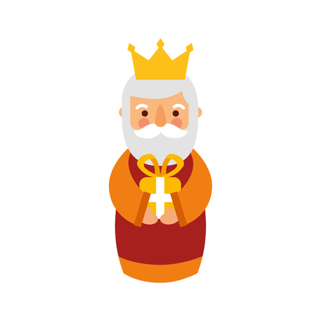 manger wise king christmas celebration bring presents to jesus vector illustration