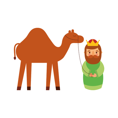 cartoon wise king with camel manger traditional vector illustration
