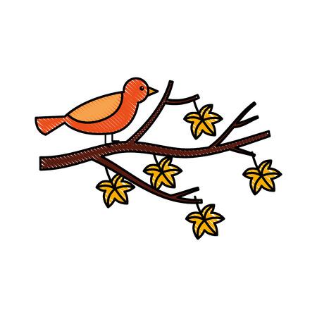 otoño hermoso pájaro en rama y hojas de ilustración vectorial Ilustración de vector