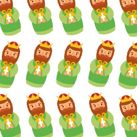 manger wijs koning kerst naadloze patroon afbeelding vector illustratie Stock Illustratie