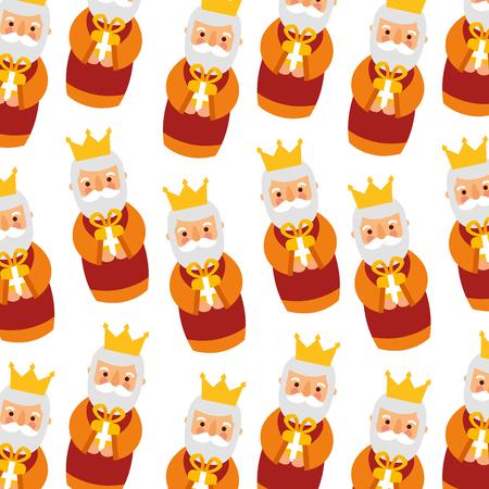 飼い葉桶の賢明な王クリスマスのシームレスなパターン画像ベクトル イラスト