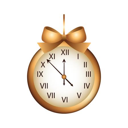 クリスマス時計フレーム ボー リボン装飾ベクトル イラスト  イラスト・ベクター素材